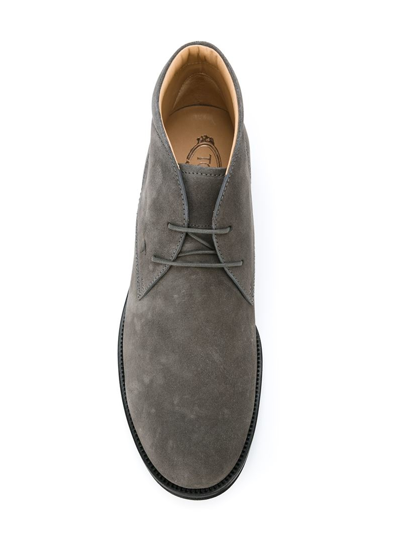 tod 39 s classic desert boots in gray for men lyst. Black Bedroom Furniture Sets. Home Design Ideas