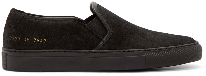 Lyst - Common Projects Waxed Suede Slip-On Sneakers in Black a3f68be1e6c0