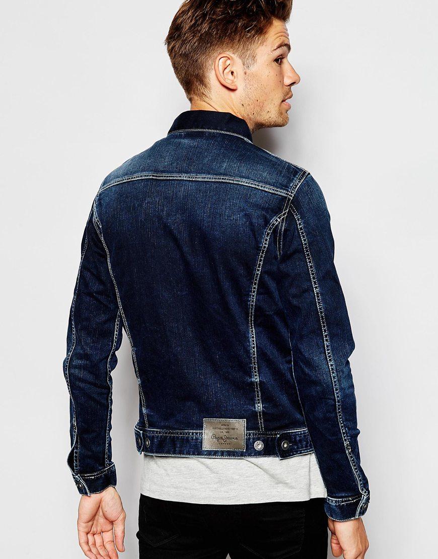 pepe jeans pepe denim jacket rooster slim fit stretch blue. Black Bedroom Furniture Sets. Home Design Ideas