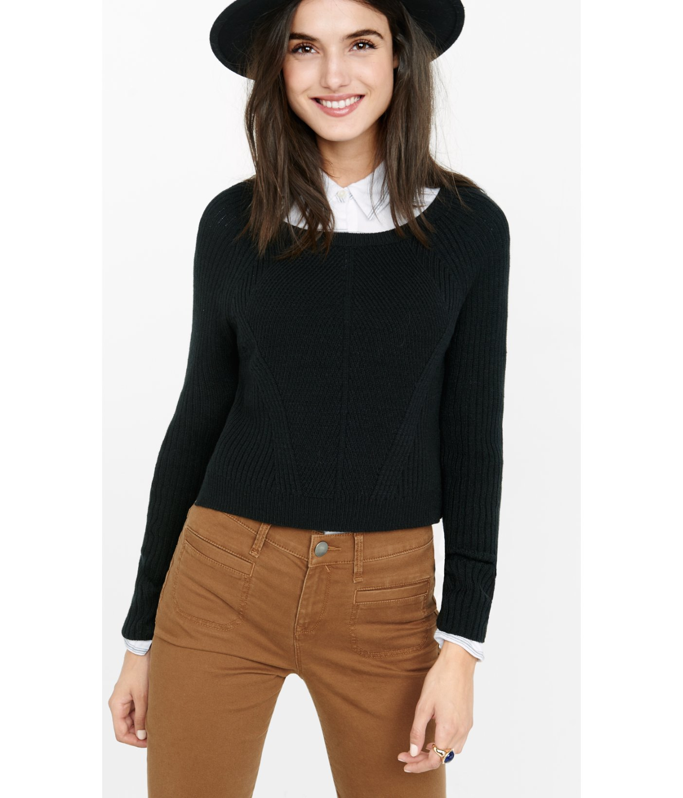 Express Engineered Rib Long Sleeve Cropped Sweater in Black | Lyst