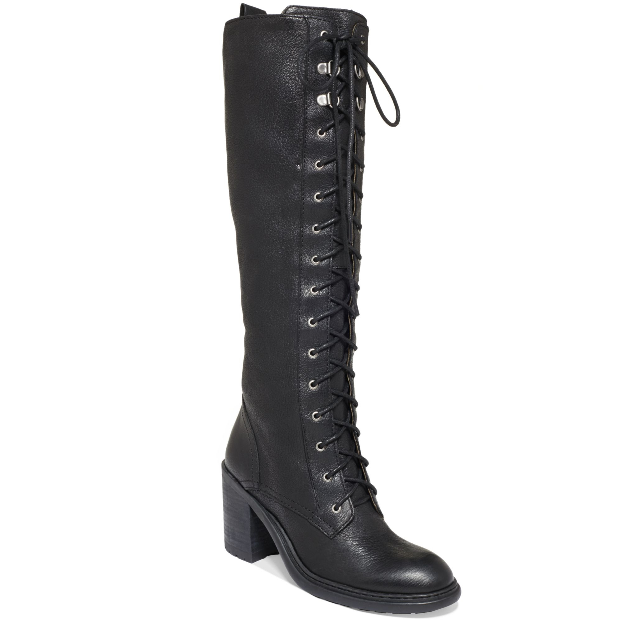 Nine west Lory Tall Laceup Combat Boots in Black | Lyst
