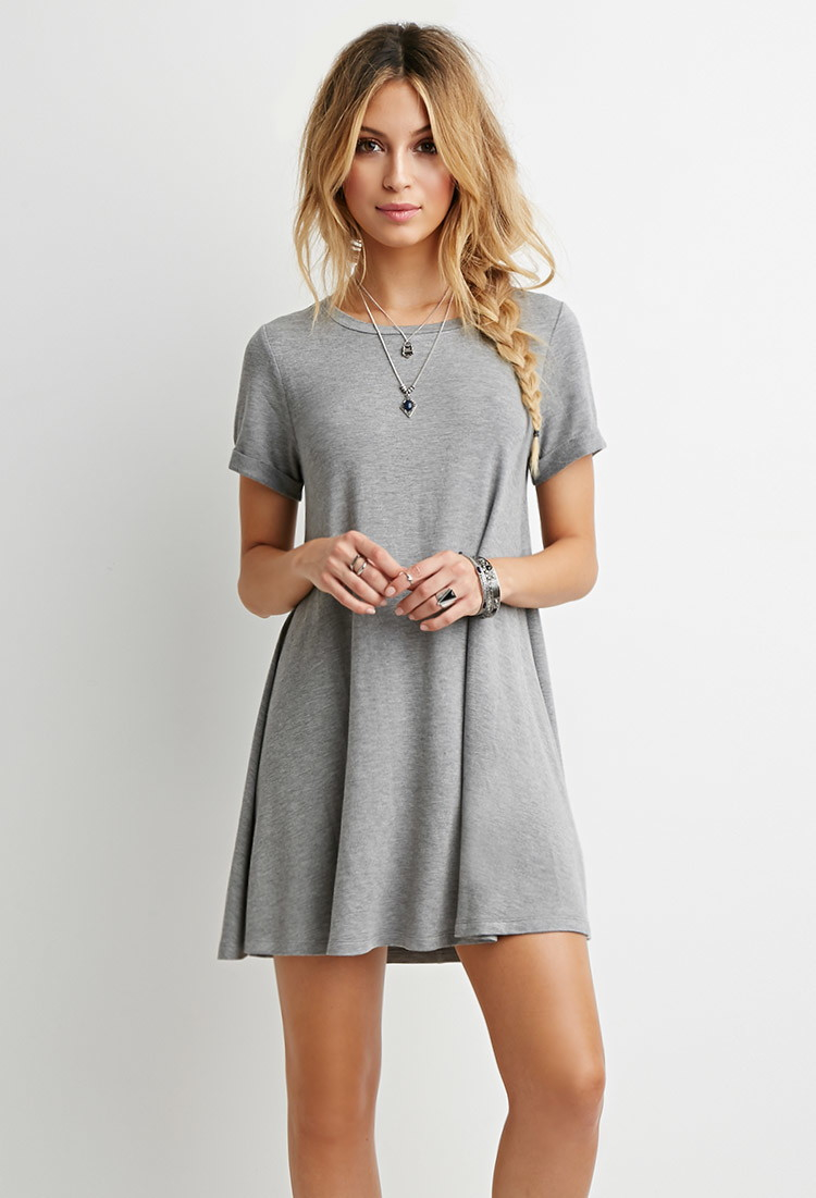 Forever 21 heathered t shirt dress in gray lyst for Dressy white t shirt