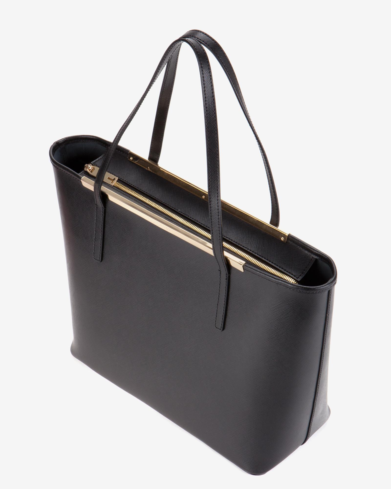 231e62d027e76 Lyst - Ted Baker Large Crosshatch Leather Shopper Bag in Black