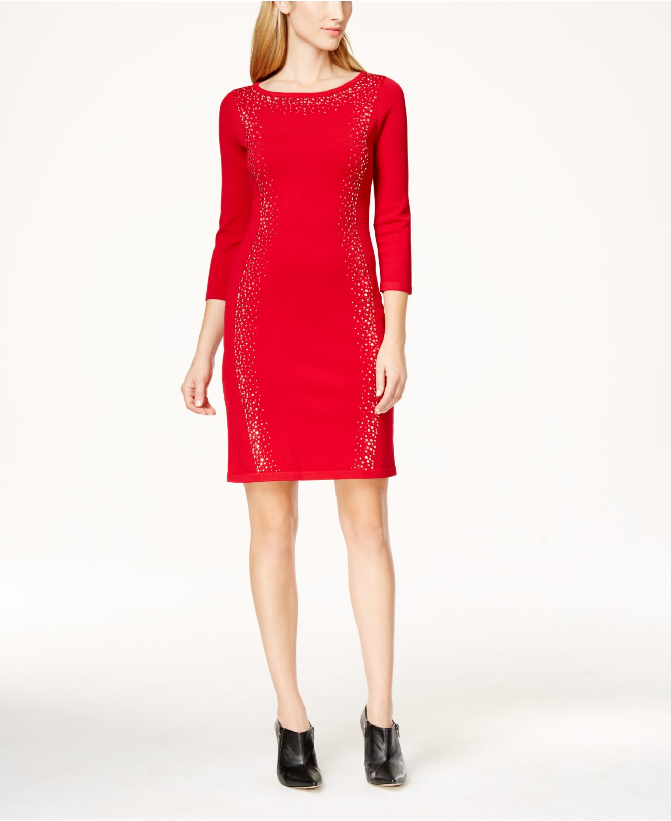 Calvin klein Petite Embellished Sweater Dress in Red | Lyst