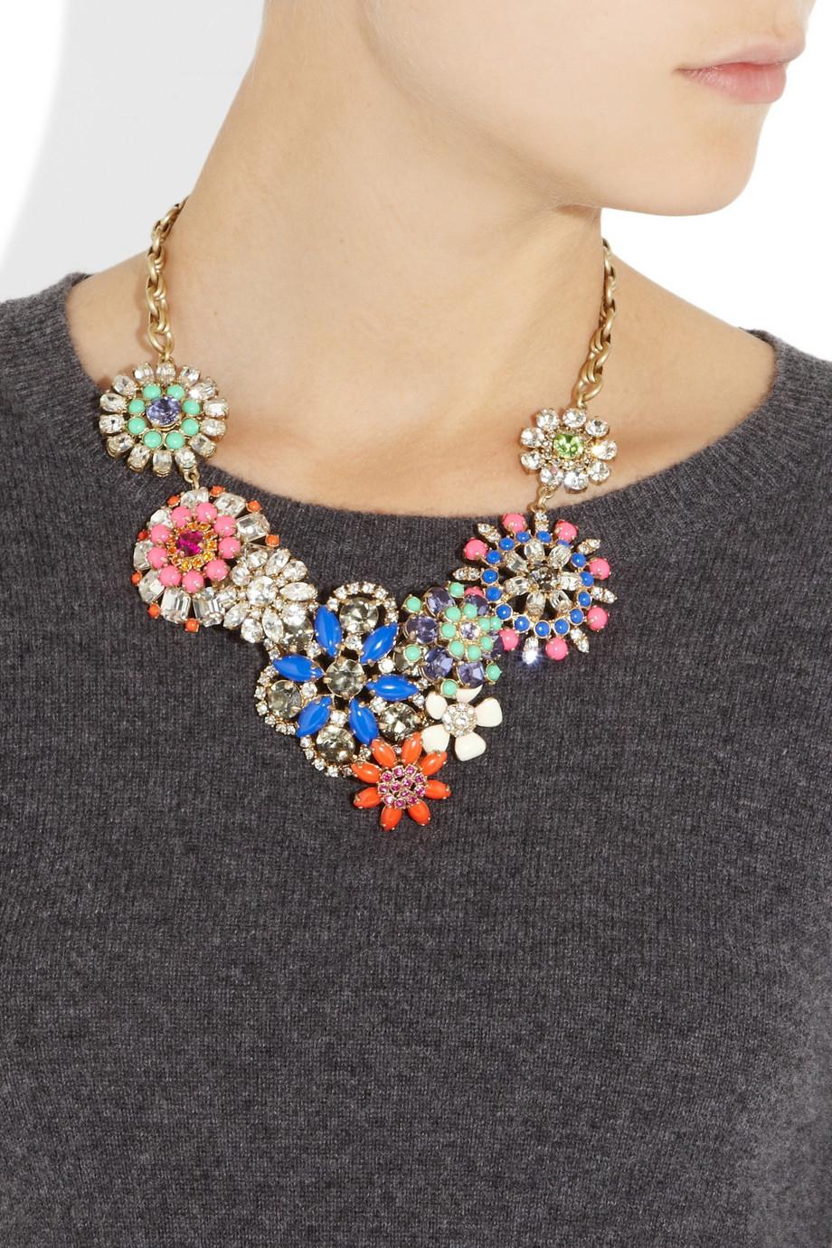 J Crew Flower Lattice Necklace