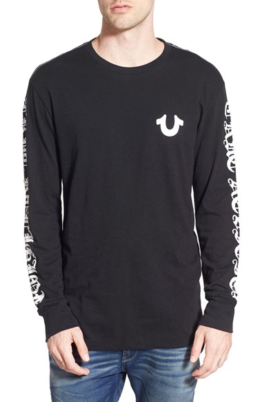 4eb00831238 True Religion Graphic Long Sleeve T-shirt in Black for Men - Lyst