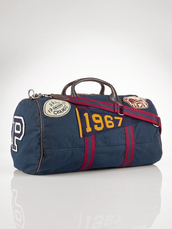 Polo Ralph Lauren Canvas Stadium Duffel Bag In Blue For