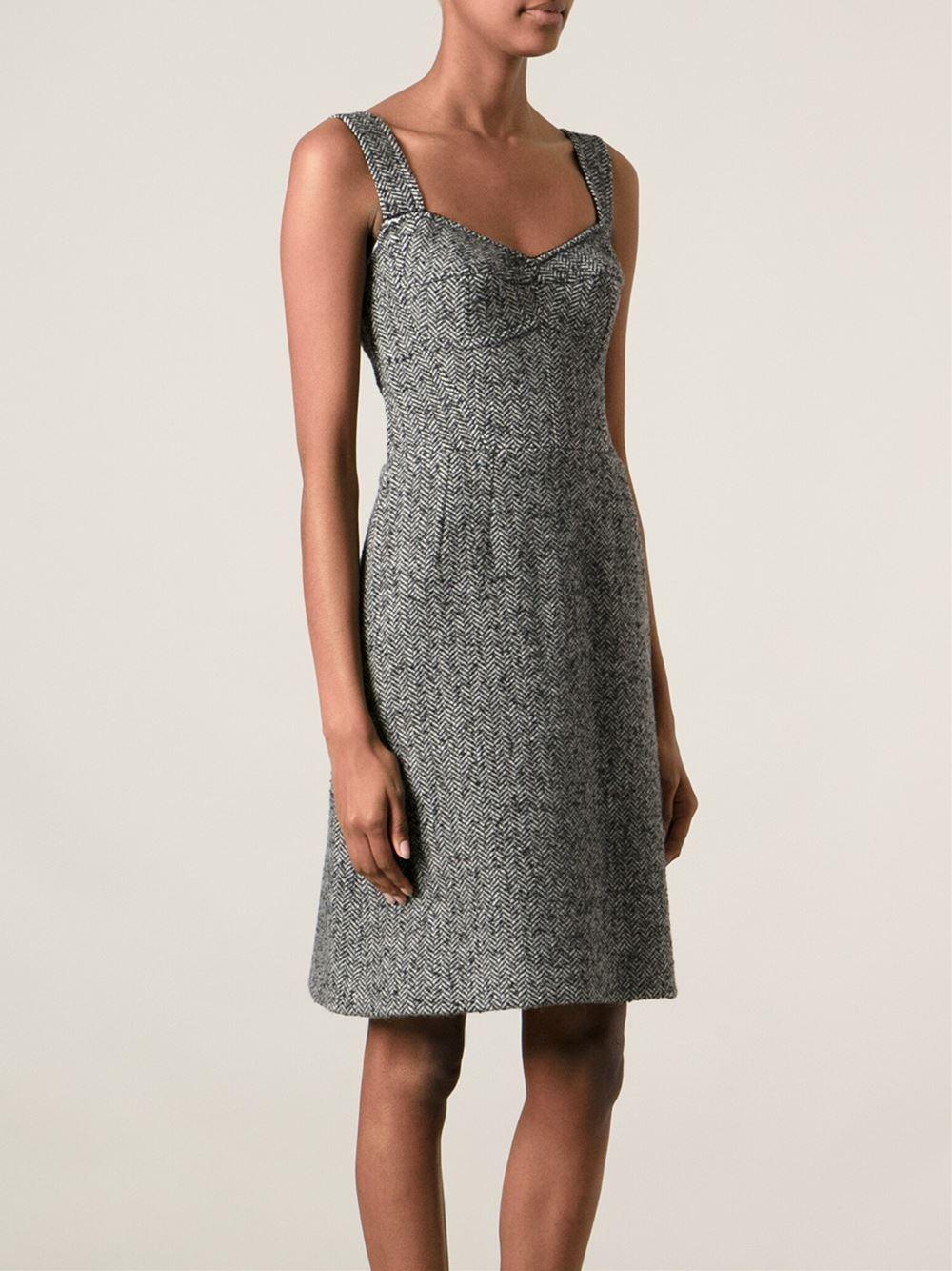 Lyst Dolce Amp Gabbana Herringbone Pattern Dress In Gray