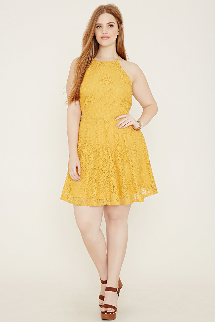 Forever 21 Plus Size Lace Cami Dress in Yellow - Lyst