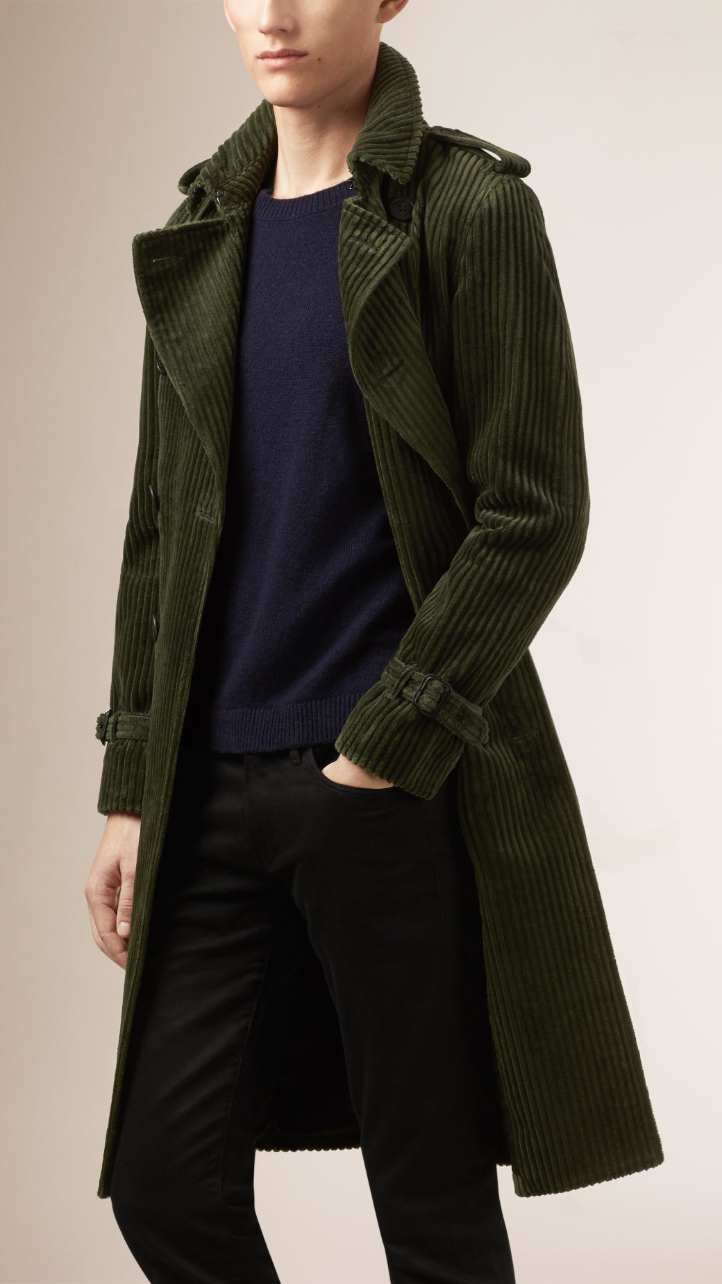 796e78592e88 in in in Lyst Corduroy Men Green Coat for for for Burberry Trench SW4aqWU8