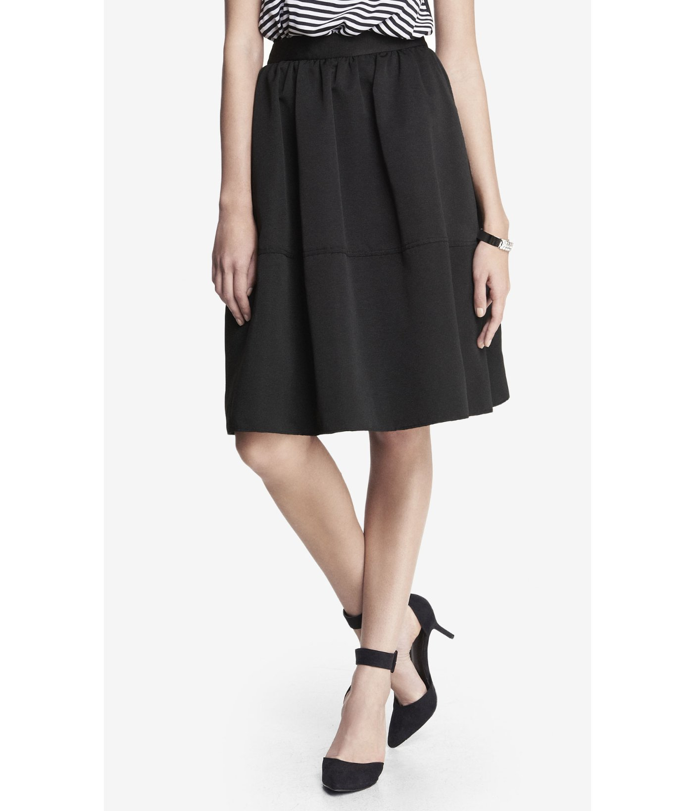 Express High Waist Full Midi Skirt in Black (PITCH BLACK) | Lyst