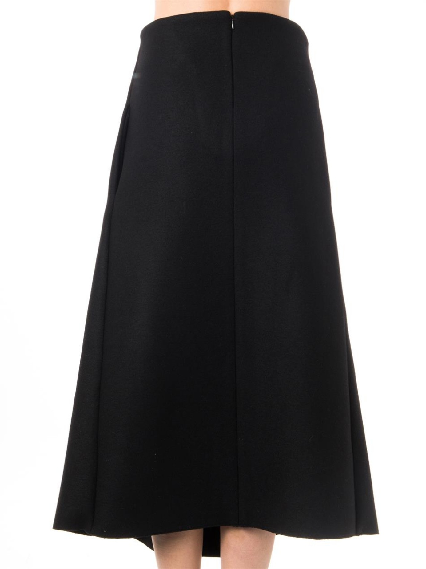 lucas nascimento pleat front midi skirt in black lyst