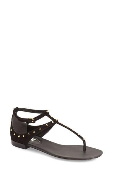 b894c4b7edd13 Lyst - Balenciaga Studded T-strap Sandal in Black