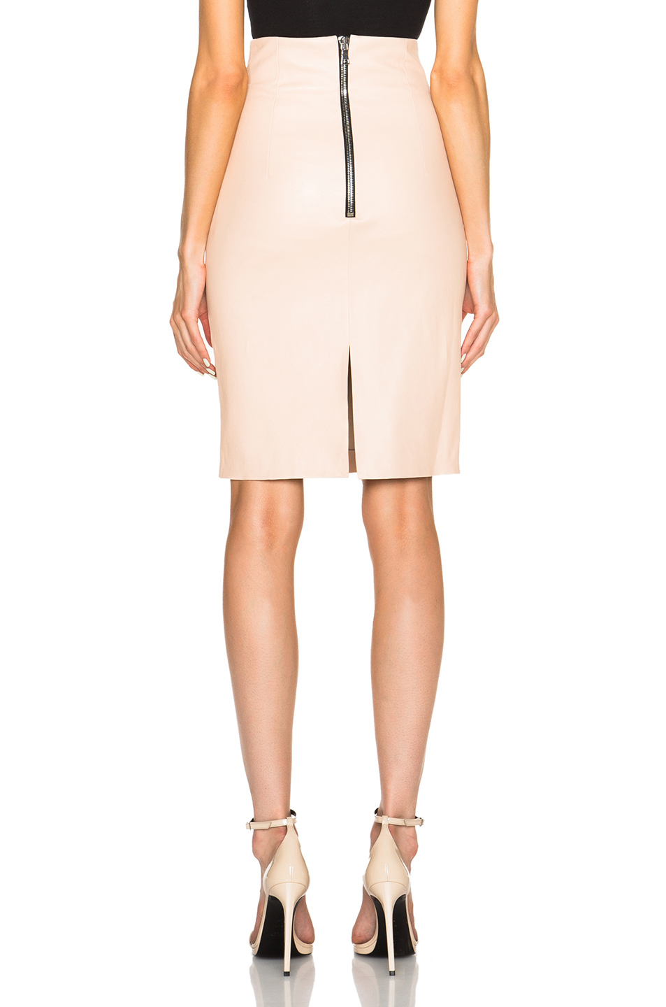 theperfext amsterdam stretch leather skirt in beige camel