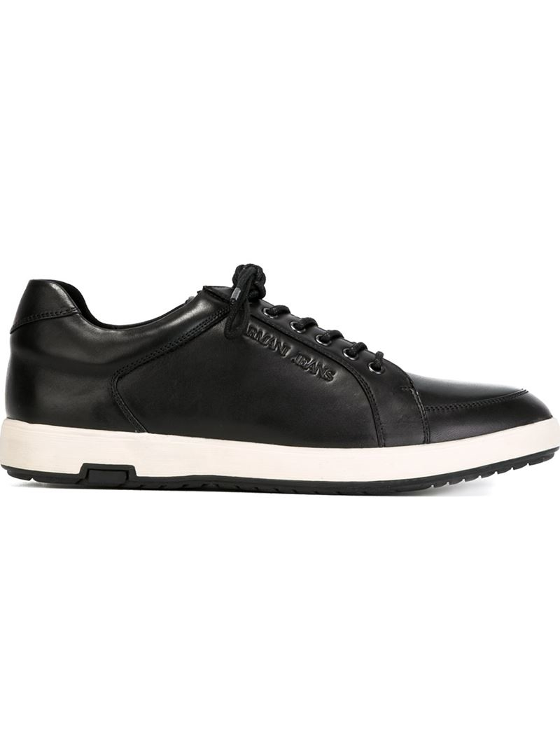 armani lace up sneakers in black for lyst