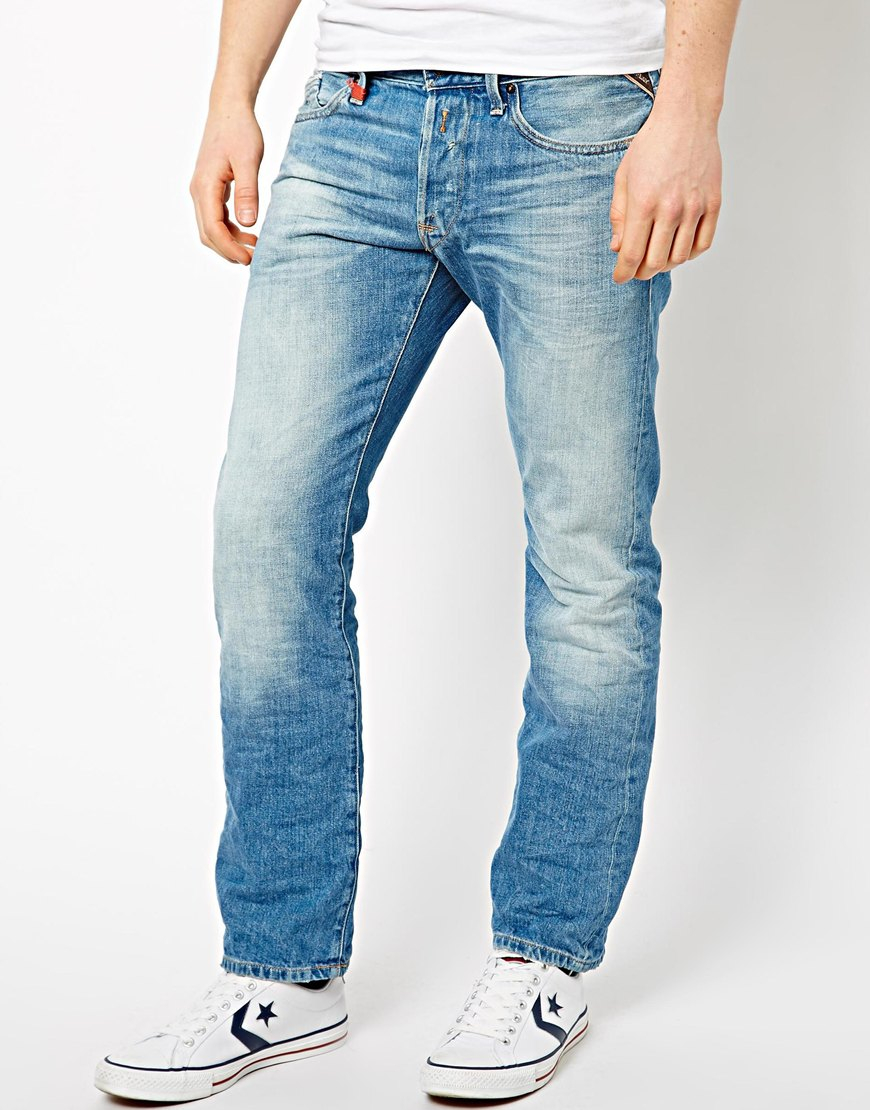 Lyst - Replay Jeans Waitom Straight Fit Laserblast Light ...