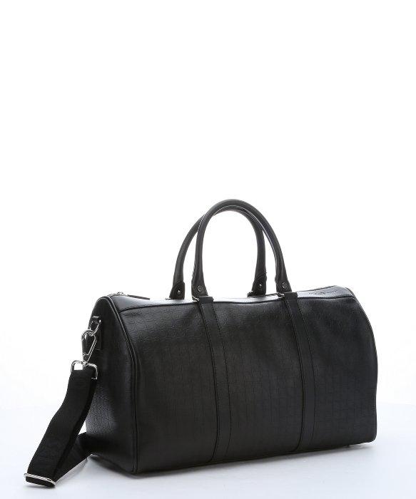 Ferragamo - Black Gancini Embossed Calfskin Small Duffle Bag for Men ...
