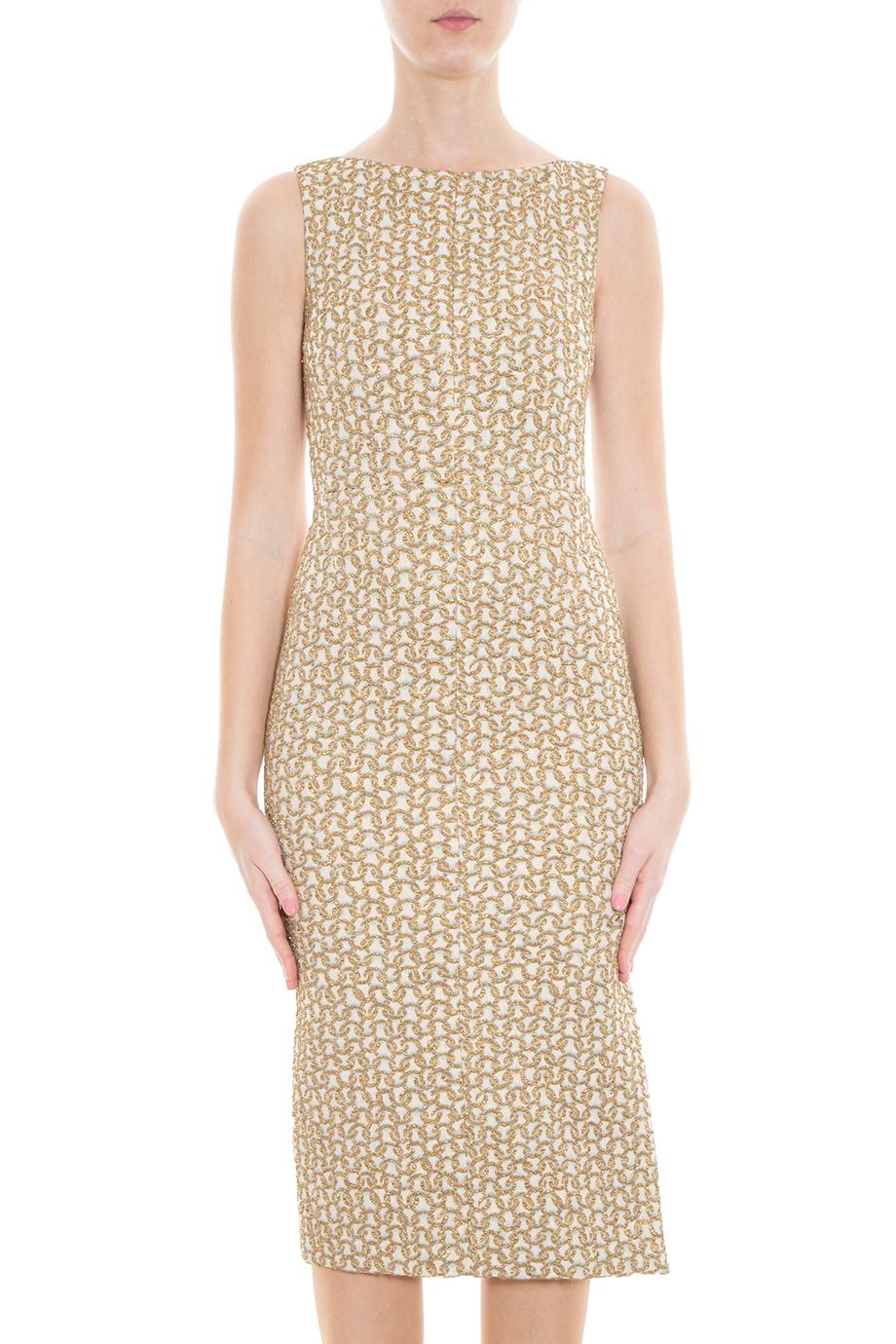 Rochas Gold Sheath Dress in Metallic | Lyst