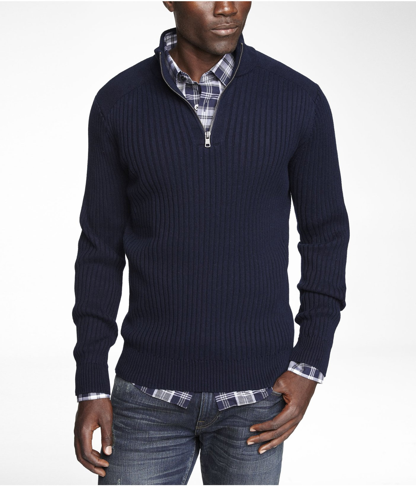 Express Cotton Zip Mock Neck Sweater in Blue for Men | Lyst