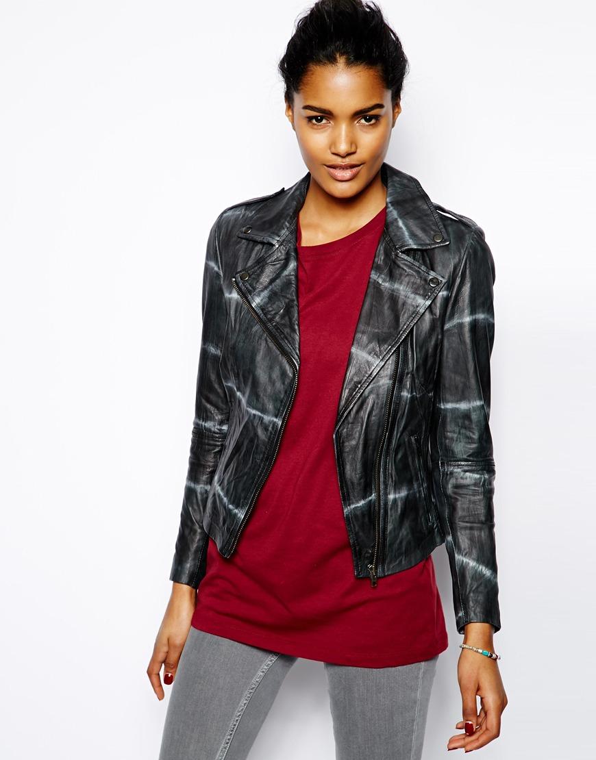 Lyst Muubaa Safi Tie Dye Leather Jacket In Black