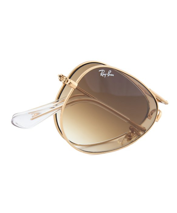 4e38d2e13511 ... where to buy lyst ray ban rb3479 001 51 folding aviator sunglasses with  gold frame and