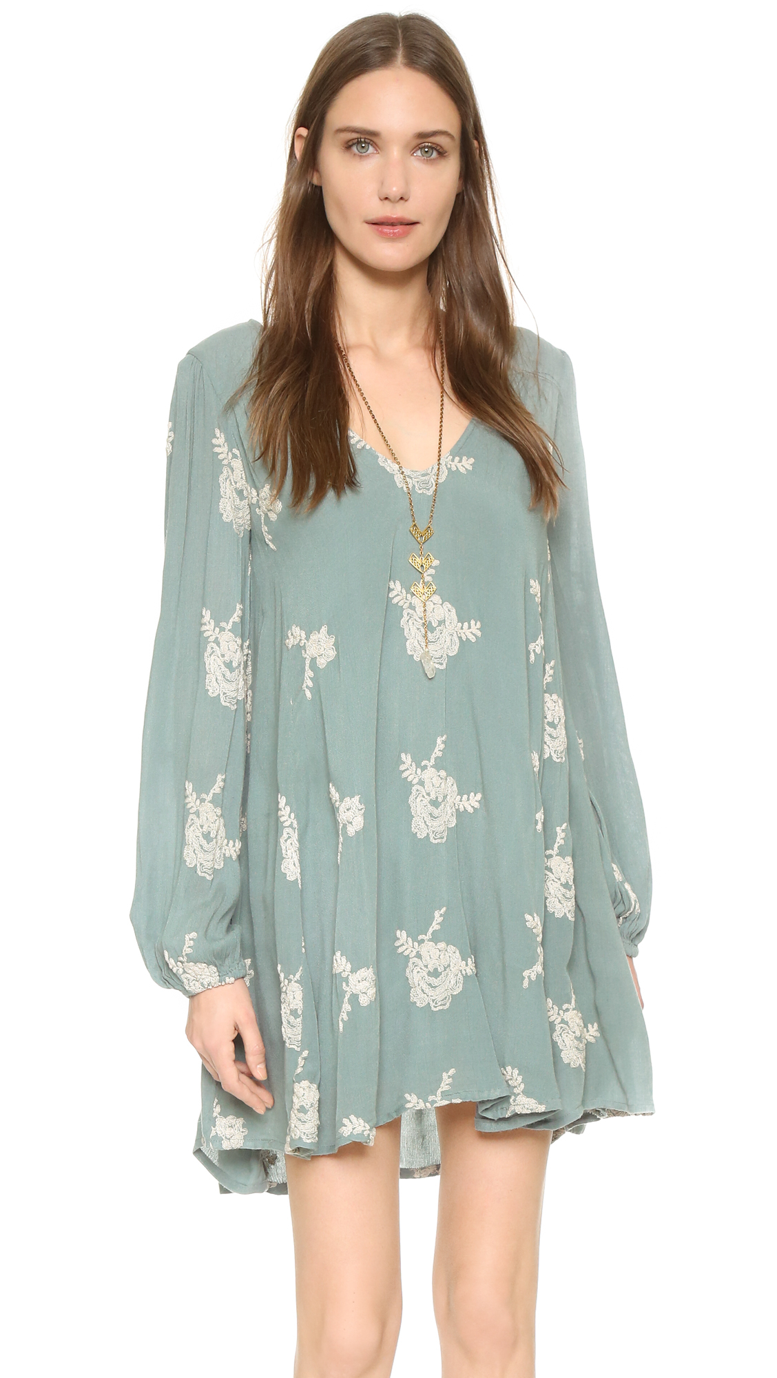 Lyst Free People Emma Embroidered Dress In Green