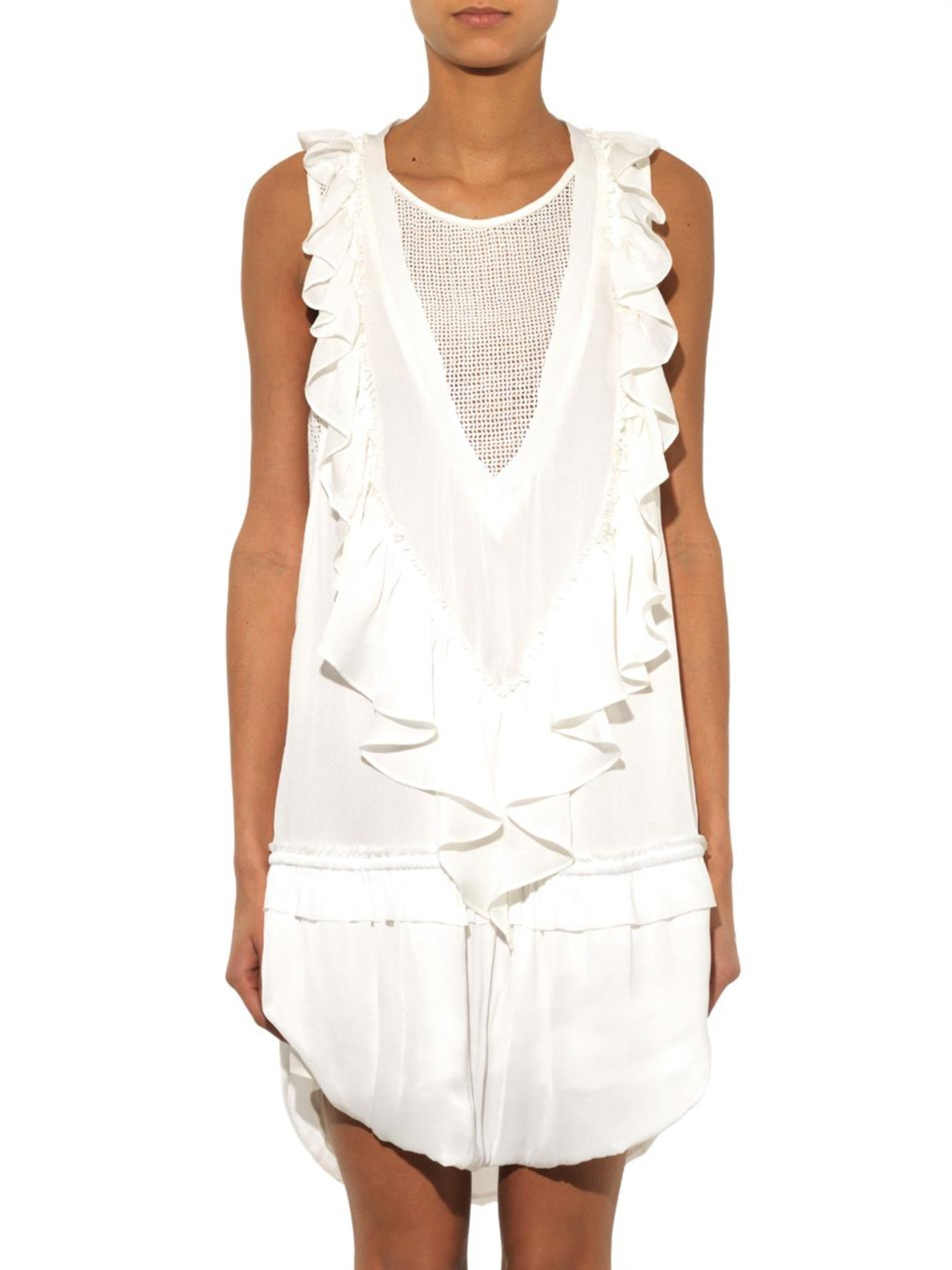 Lyst isabel marant rafael ruffle detail dress in white for Isabel marant shirt dress