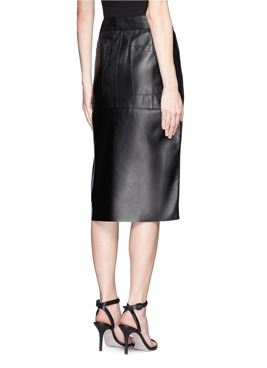 Helmut lang Side Slit High-waist Leather Skirt in Black | Lyst