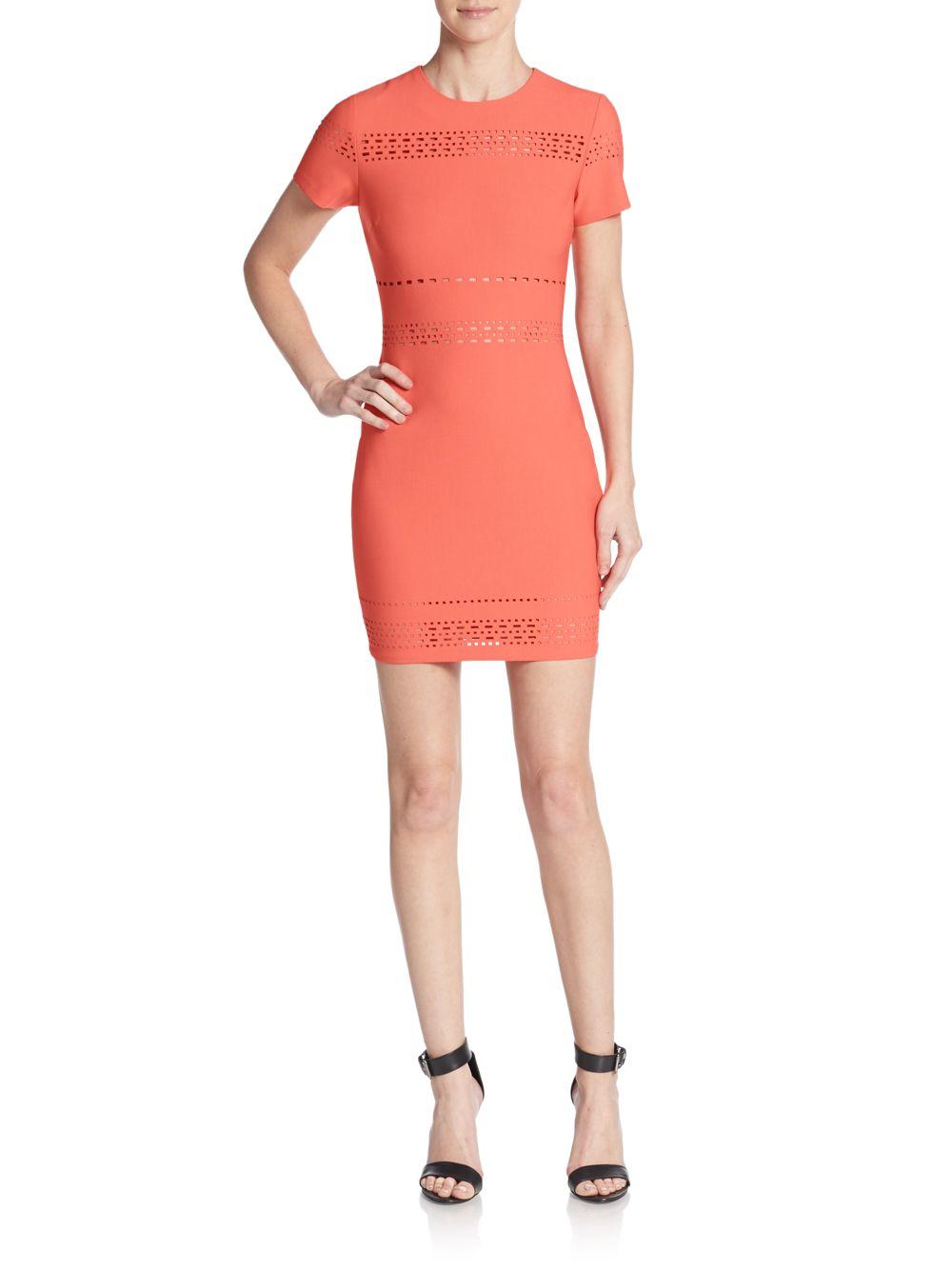 2a033b3394 Elizabeth and James Ari Perforated Sheath Dress in Red - Lyst