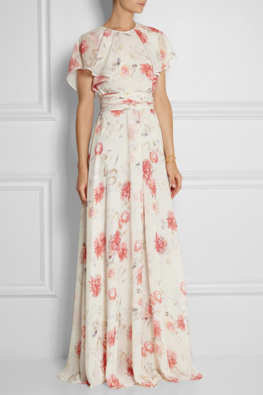 Lyst Giambattista Valli Floral Print Silk Georgette Gown