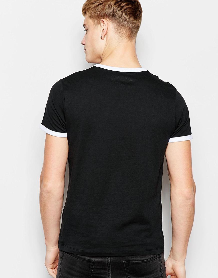 jack jones t shirt with panel print in black for men lyst. Black Bedroom Furniture Sets. Home Design Ideas