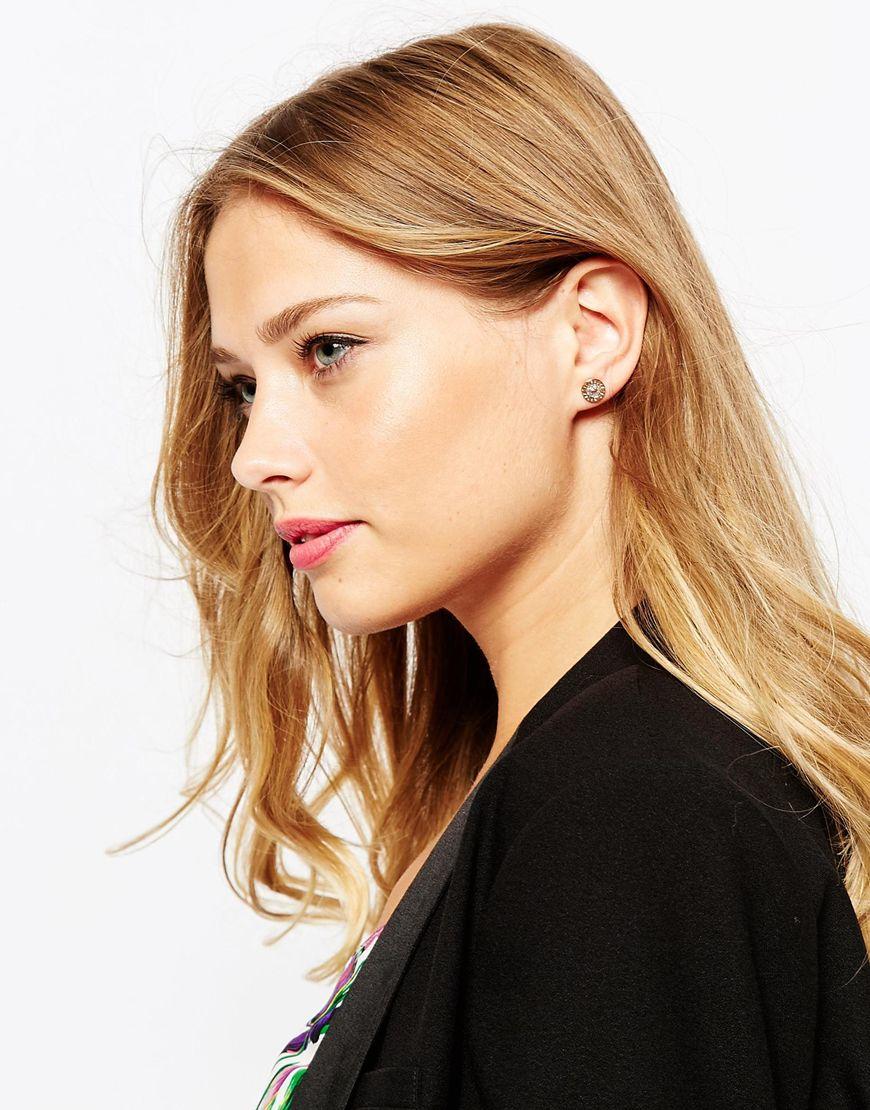 Ted Baker Enamel Logo Button Stud Earrings In Pink Lyst