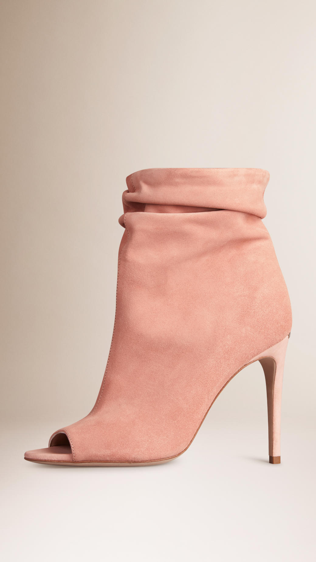 burberry suede peep toe boots in pink lyst