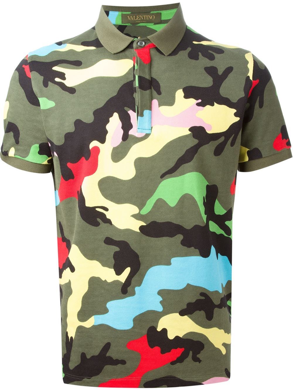 Valentino Rockstud Camouflage Cotton T Shirt In Green For
