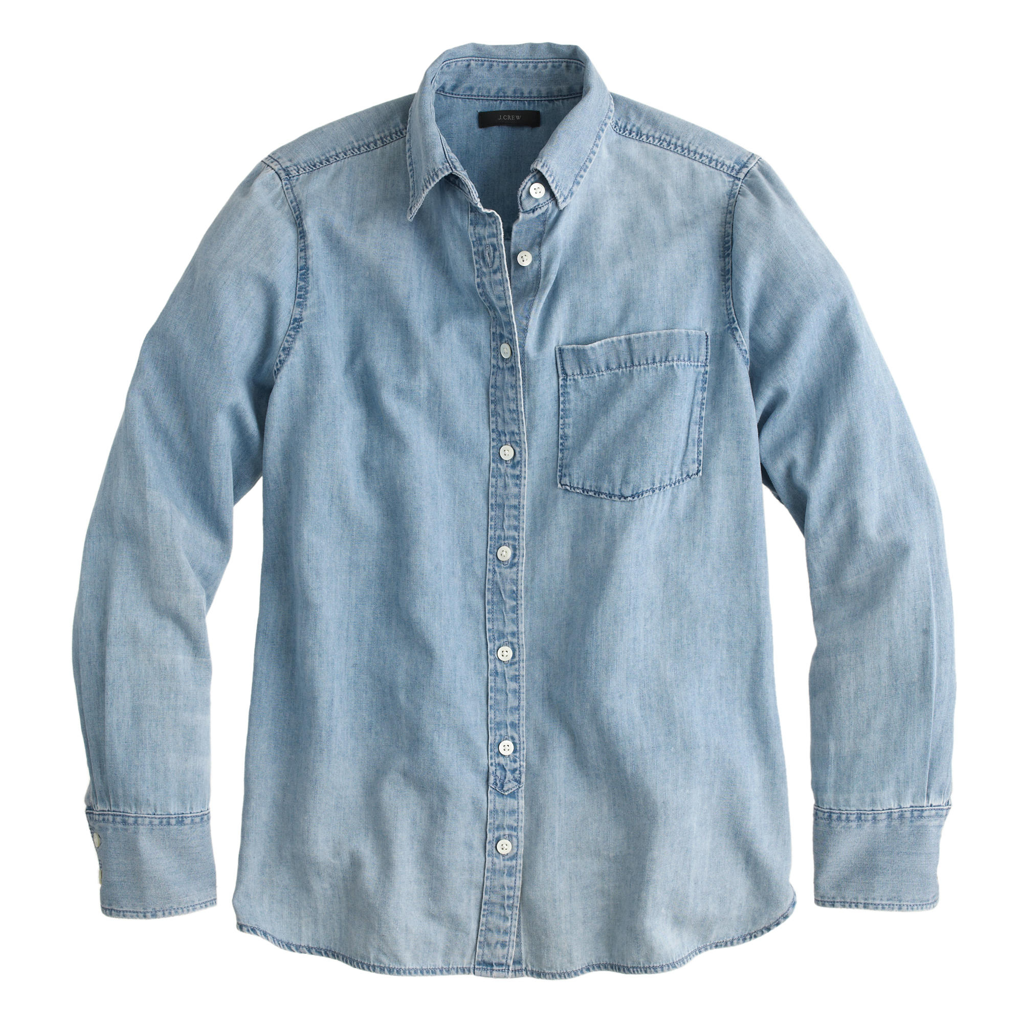 Chambray pocket shirt in blue light indigo lyst for Chambray shirt women