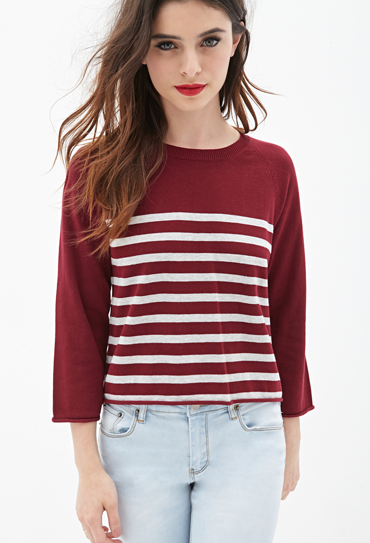 Lyst - Forever 21 Striped Cropped Sweater in Gray