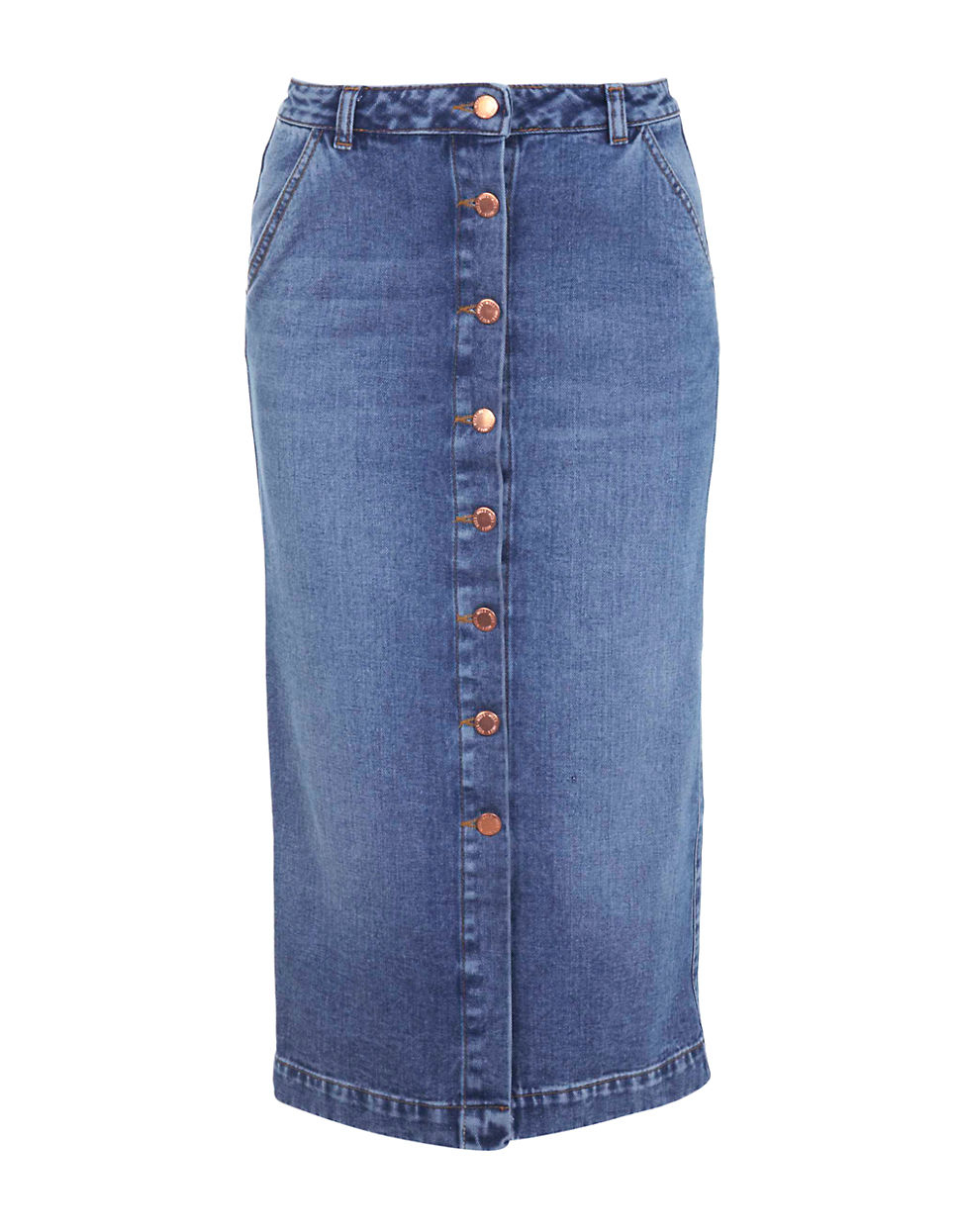 Miss selfridge Denim Button Front Midi Skirt in Blue | Lyst