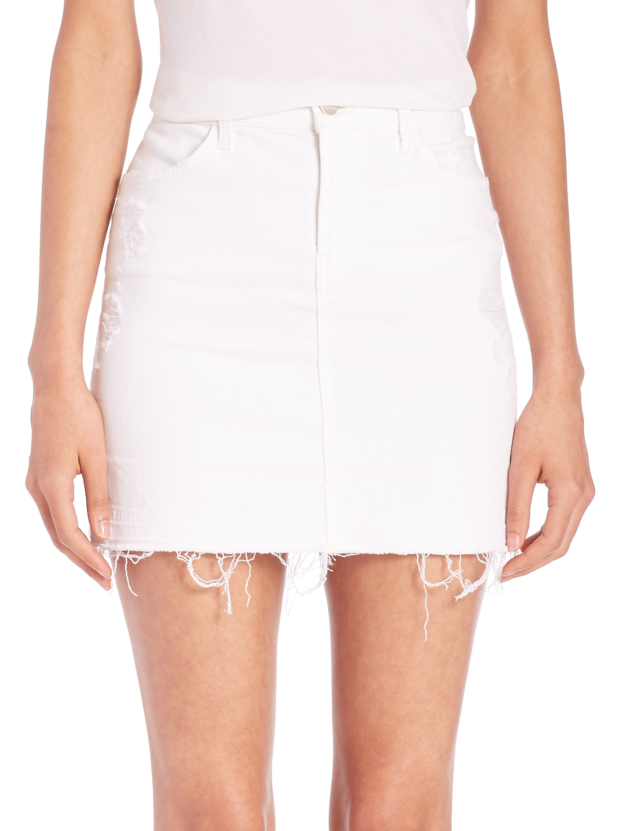 J brand Leila Released-hem Denim Pencil Skirt in White | Lyst