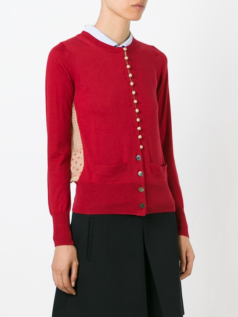 Sacai luck Sheer Back Cardigan in Red | Lyst