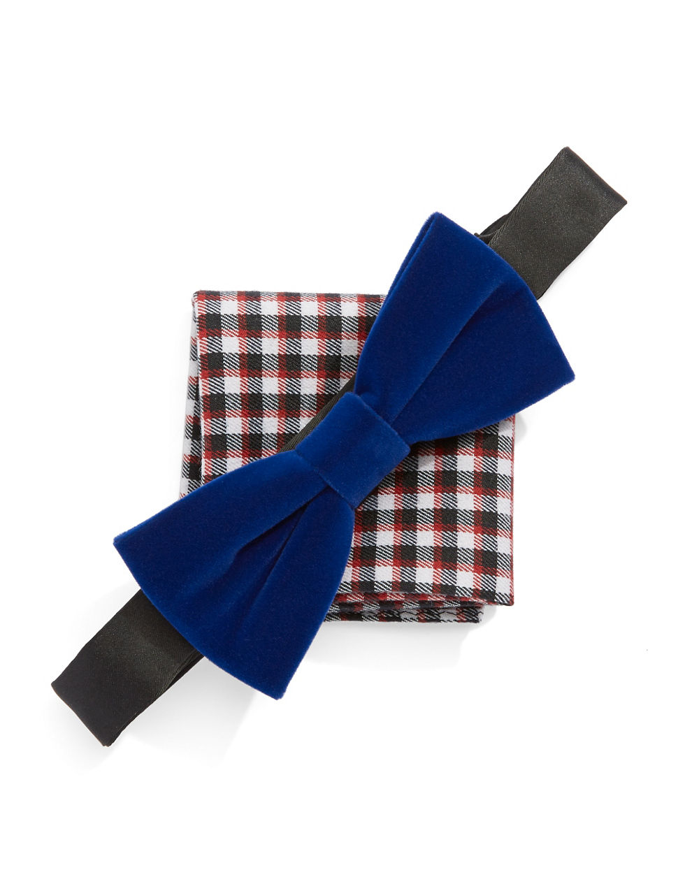 original penguin bow tie and pocket square set in blue for
