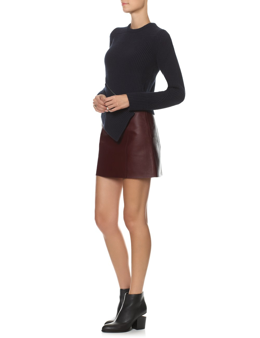 t by wang bordeaux leather edge skirt in