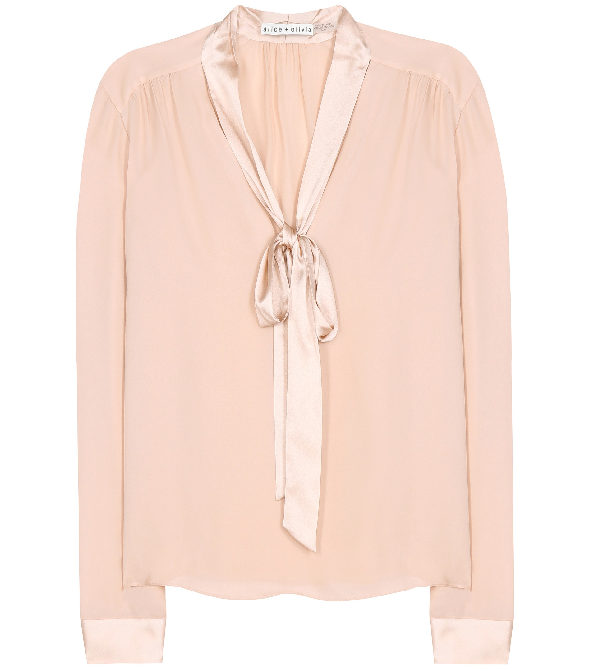 3a95a6232c6c04 Lyst - Alice + Olivia Irma Pussy Bow Silk Blouse in Pink