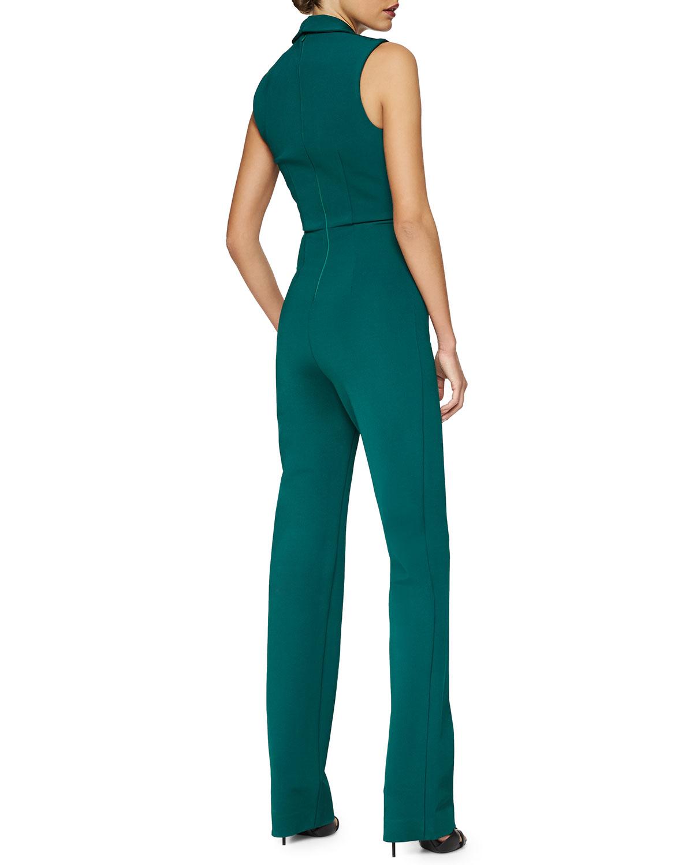 718e42f6ef1c Lyst - Cushnie et Ochs Peaked-lapel V-neck Jumpsuit in Green