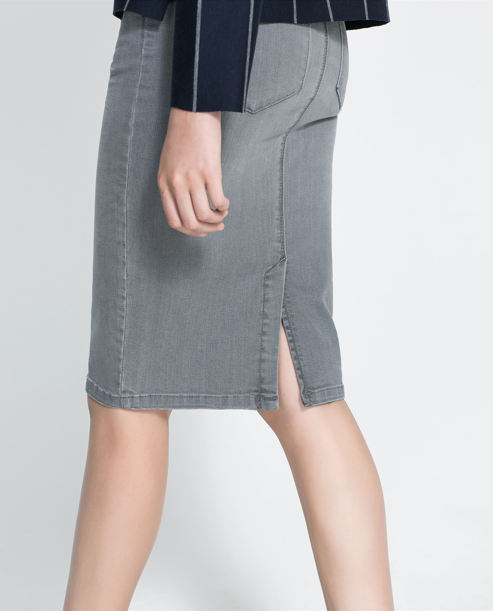 Zara Denim Pencil Skirt in Gray | Lyst