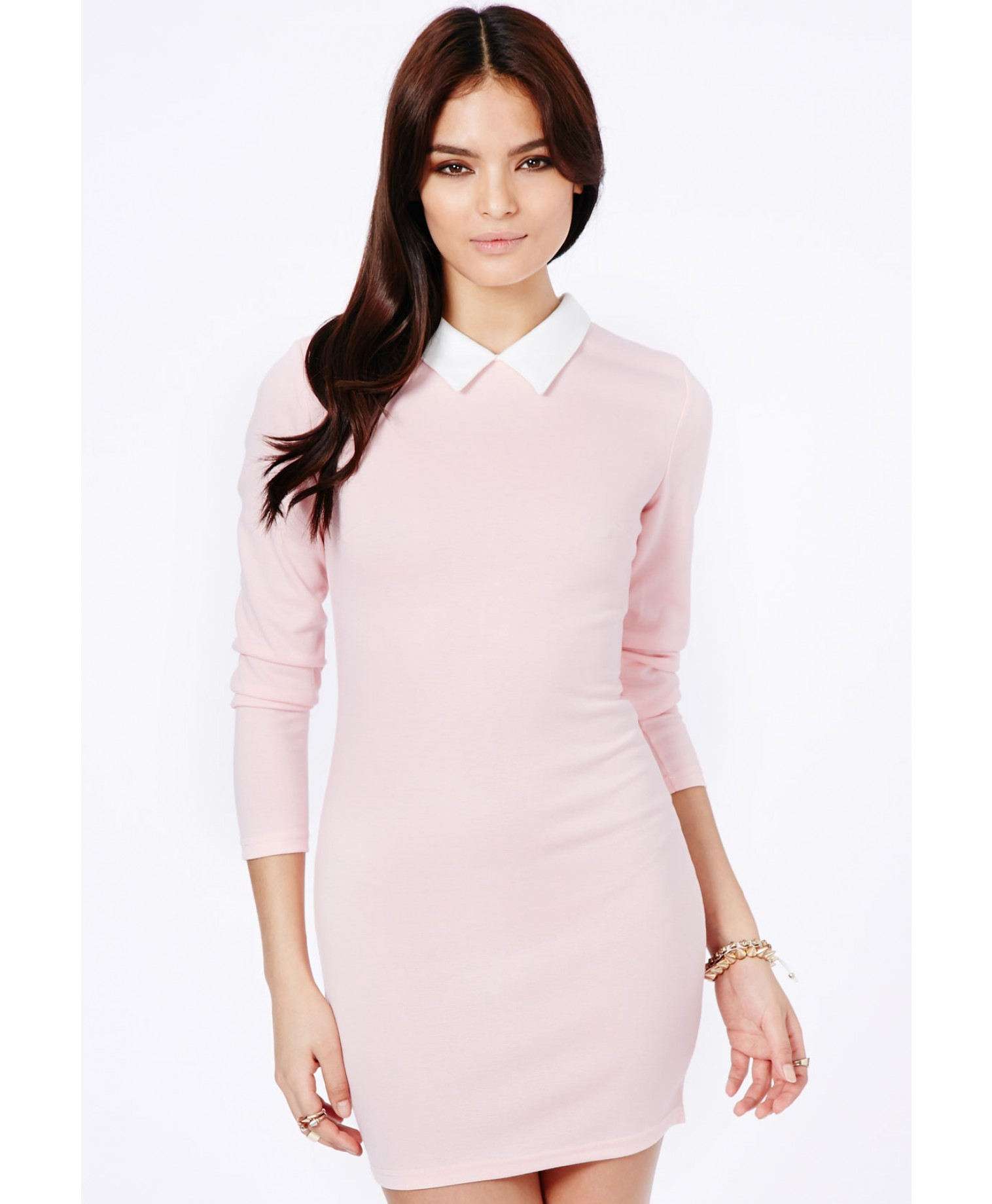 missguided sumiko long sleeve collar dress in baby pink in