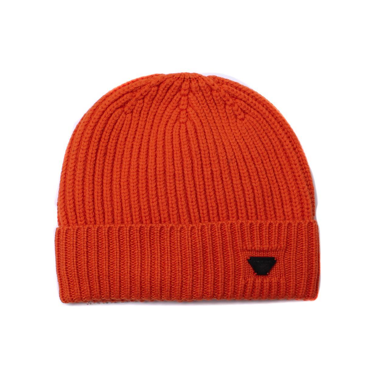 ec939d6edc590d Lyst - Armani Jeans Orange Woollen Rib Knit Beanie Hat in Orange for ...
