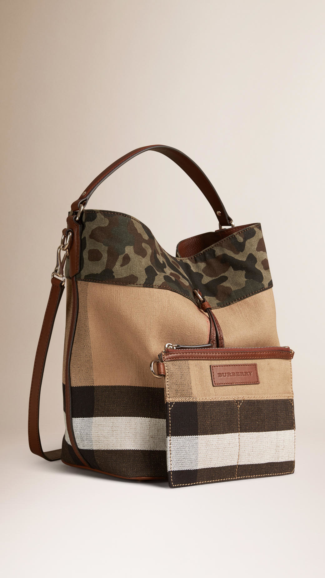 Burberry The Medium Ashby In Canvas Check And Camouflage ...