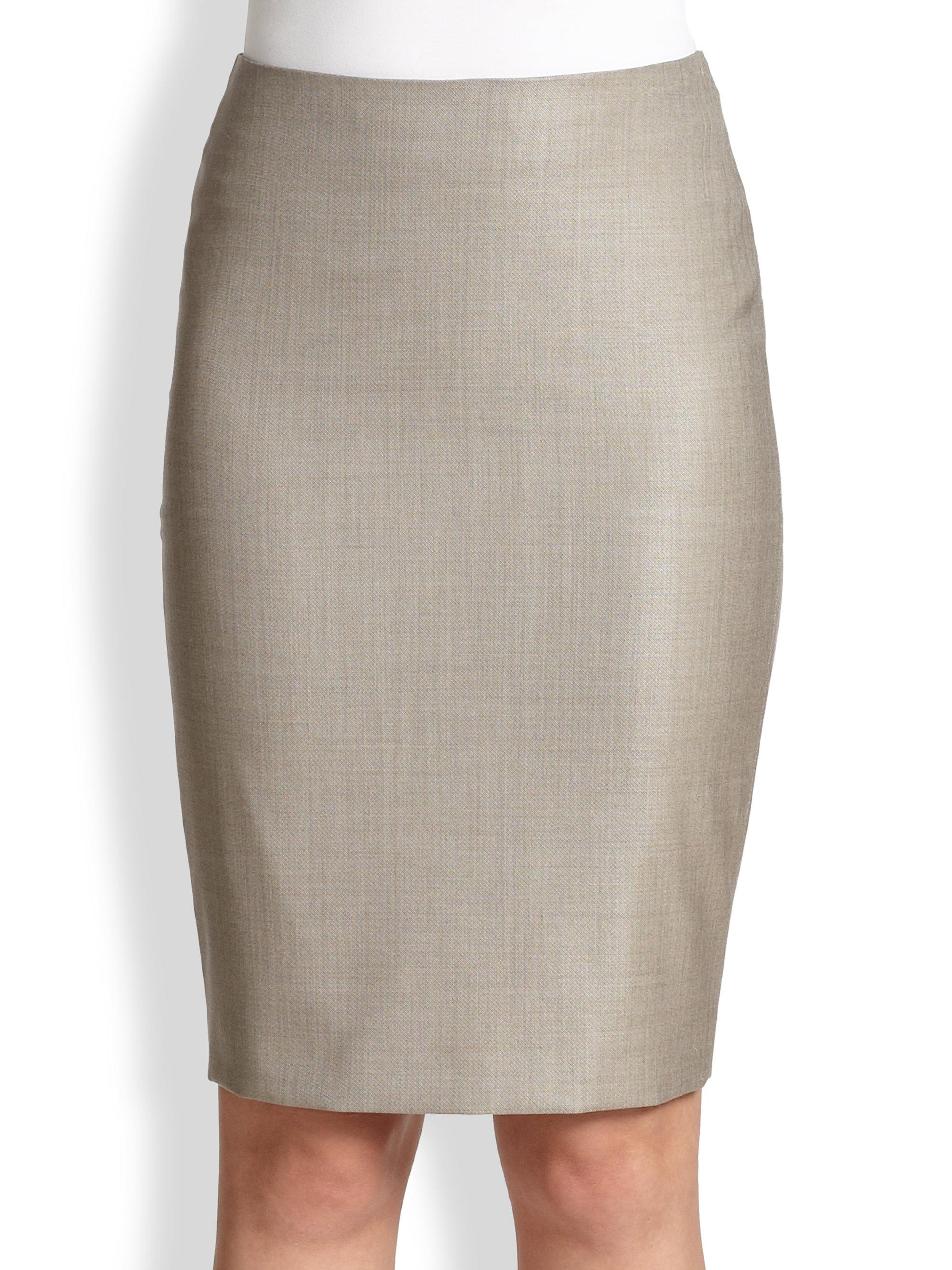 Max mara Hidesia Wool Silk Pencil Skirt in Gray   Lyst