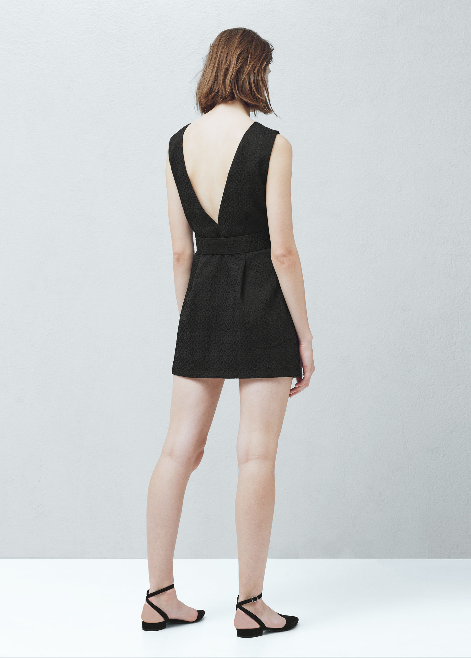 Lyst - Mango Textured Jacquard Dress in Black 7e61b9a41