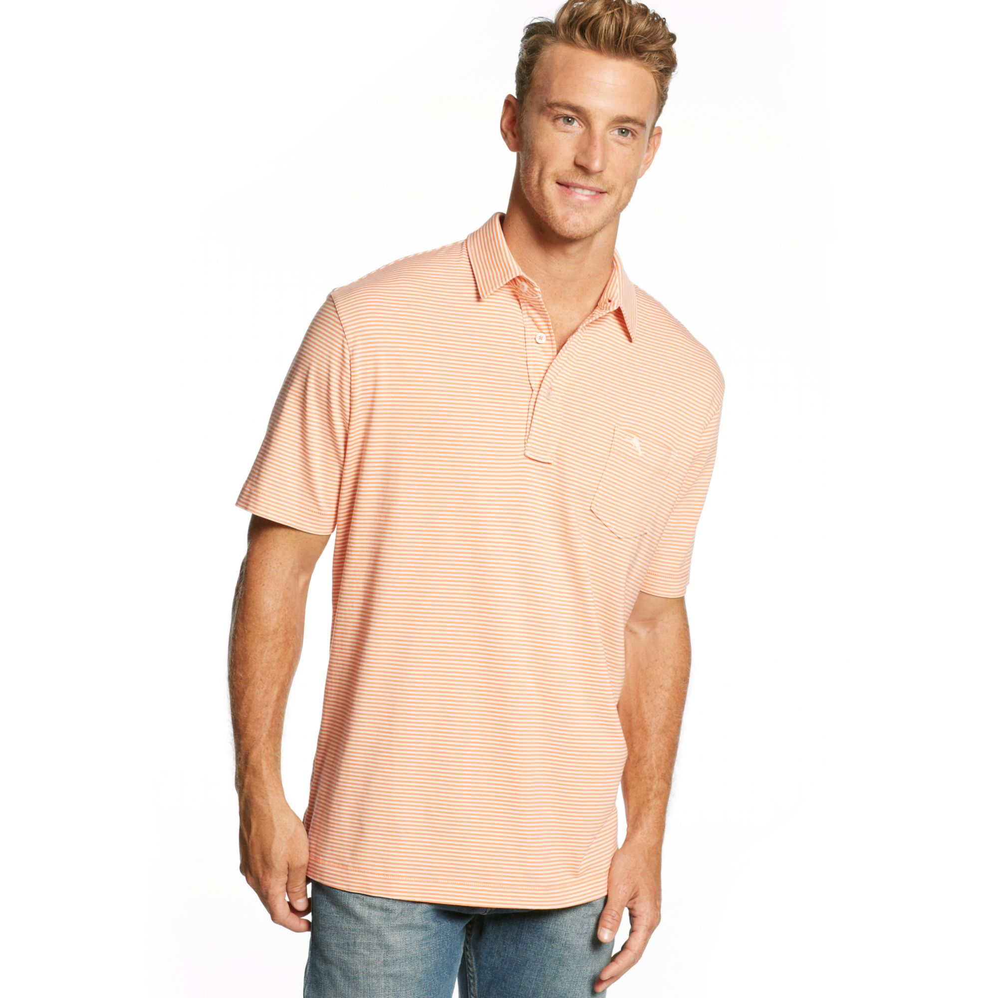 Tommy Bahama Bali Surf Striped Polo In Pink For Men